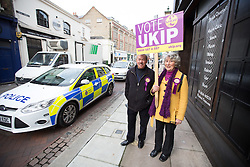 @Licensed to London News Pictures 20/11/2014. Strood, Kent, UK. UKIP party members out canvassing for votes on election day for the Rochester and Strood by-election in Kent today. Photo credit: Manu Palomeque/LNP