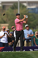 Bryson Dechambeau (USA) on the 3rd tee during Round 2 of the Omega Dubai Desert Classic, Emirates Golf Club, Dubai,  United Arab Emirates. 25/01/2019<br /> Picture: Golffile   Thos Caffrey<br /> <br /> <br /> All photo usage must carry mandatory copyright credit (© Golffile   Thos Caffrey)