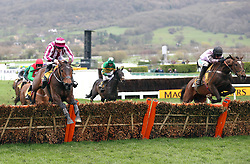 Pentland Hills ridden by Nico de Boinville (right) on their way to victory in the JCP Triumph Hurdle during Gold Cup Day of the 2019 Cheltenham Festival at Cheltenham Racecourse.
