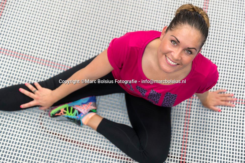 Nederland,  Den Bosch, trampoline springster en 2 voudig deelnemer aan de Olympische spelen stopt op 35 jarige leeftijd. Aanstaand weekend turnt zij voor het laatst.