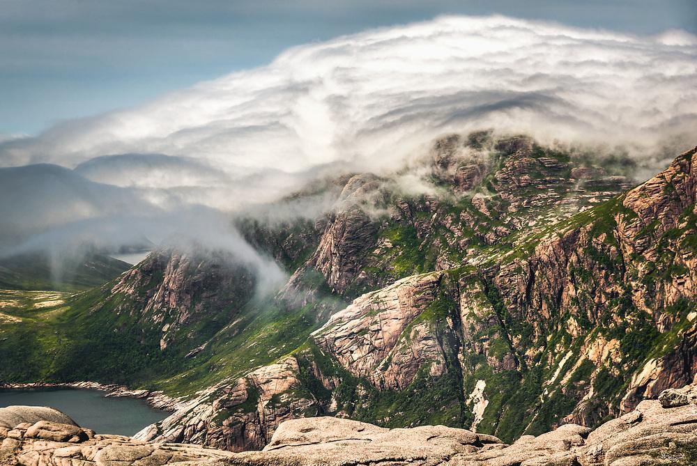 Fog comes over Cape La Hune, South Coast Newfoundland
