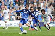 Cardiff City's Peter Whittingham scores his teams 2nd goal from penalty spot with the last kick of the game. Skybet football league championship match, Cardiff city v Bolton Wanderers at the Cardiff city Stadium in Cardiff, South Wales on Saturday 23rd April 2016.<br /> pic by Carl Robertson, Andrew Orchard sports photography.