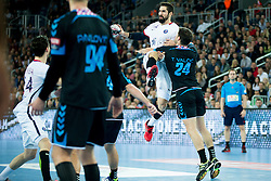 Nikola Karabatic #44 of Paris Sant-Germain and Tonci Valcic #24 of PPD Zagreb during handball match between PPD Zagreb (CRO) and Paris Saint-Germain (FRA) in 11th Round of Group Phase of EHF Champions League 2015/16, on February 10, 2016 in Arena Zagreb, Zagreb, Croatia. Photo by Urban Urbanc / Sportida