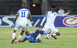 29/08/2018 Mark Mayambela of Chippa United FC looks on as Aubrey Modiba Supersport United FC tackles Thamsanqa Sangweni of Chippa United FC during their PSL match at Lucas Morepe stadium in Atteridgeville.<br /> Picture: Oupa Mokoena/African News Agency (ANA)