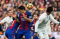 FC Barcelona's Luis Suarez , Real Madrid's Raphael Varane during spanish La Liga match between Futbol Club Barcelona and Real Madrid  at Camp Nou Stadium in Barcelona , Spain. Decembe r03, 2016. (ALTERPHOTOS/Rodrigo Jimenez)