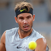 PARIS, FRANCE September 25.  Rafael Nadal of Spain during his practice match with Filip Krajinovic of Serbia on Court Philippe-Chatrier in preparation for the 2020 French Open Tennis Tournament at Roland Garros on September 25th 2020 in Paris, France. (Photo by Tim Clayton/Corbis via Getty Images)