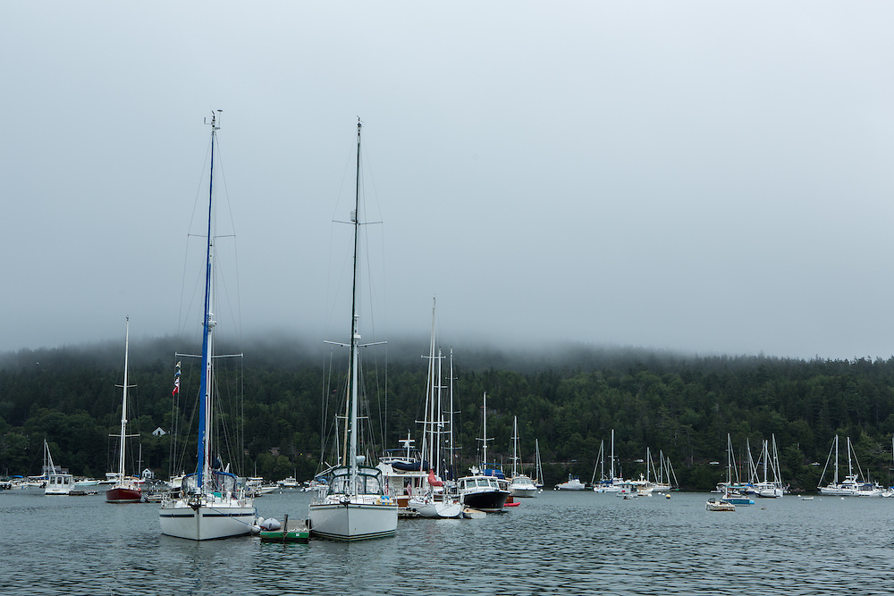 Northeast Harbor, ME - 13 August 2014. Northeast Harbor in the fog.