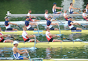 Lucerne, SWITZERLAND,  GBR M4-  Bow Alex PARTRIDGE, Rick EGINGTON, Alex GREGORY and Matt LANGRIDGE, move away from the start, of the third round of the  2009 FISA World Cup,  on the Rottsee regatta Course, Friday  10/07/2009 [Mandatory Credit Peter Spurrier/ Intersport Images].