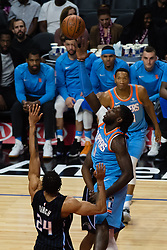 March 10, 2018 - Los Angeles, CA, U.S. - LOS ANGELES, CA - MARCH 10: LA Clippers forward Montrezl Harrell (5) puts up a shot with Orlando Magic center Khem Birch (24) defending during the game between the Orlando Magic and the LA Clippers on March 10, 2018, at STAPLES Center in Los Angeles, CA. (Photo by David Dennis/Icon Sportswire) (Credit Image: © David Dennis/Icon SMI via ZUMA Press)