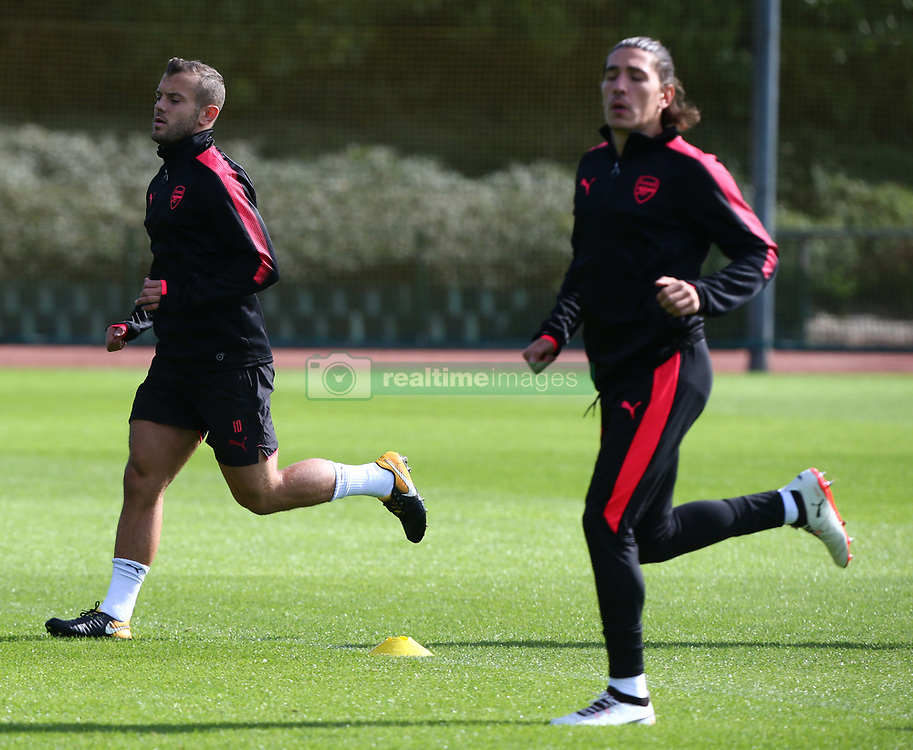 September 13, 2017 - London, England, United Kingdom - L-R Arsenal's Jack Wilshere and Arsenal's Hector Bellerin.during a Arsenal training session ahead of the UEFA Europa League Group H match against 1. FC Kln at Arsenal training centre , London Colney on 13 Sep  2017 St.Albans, England  (Credit Image: © Kieran Galvin/NurPhoto via ZUMA Press)