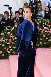 "Irina Shayk at the 2019 Costume Institute Benefit Gala celebrating the opening of ""Camp: Notes on Fashion"".<br />