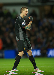 30.12.2012, Loftus Road, London, ENG, Premier League, Queens Park Rangers vs FC Liverpool, 20. Runde, im Bild Liverpool's Daniel Agger celebrates scoring the third goal against Queens Park Rangers during during the English Premier League 20th round match between Queens Park Rangers and Liverpool FC at Loftus Road, London, Great Britain on 2012/12/30. EXPA Pictures © 2012, PhotoCredit: EXPA/ Propagandaphoto/ David Rawcliffe..***** ATTENTION - OUT OF ENG, GBR, UK *****