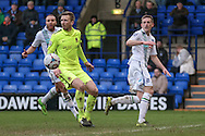Jeff Hughes (Tranmere Rovers) watches as his shot is saved and rebounds into the centre of the penalty box during the Vanarama National League match between Tranmere Rovers and Southport at Prenton Park, Birkenhead, England on 6 February 2016. Photo by Mark P Doherty.