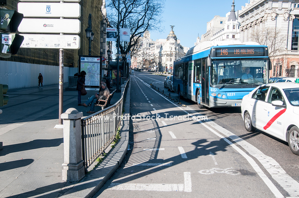 Bicycle lane in the centre of Madrid on Alcala Street