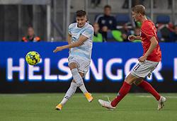 Frederik Juul Christensen (FC Helsingør) og Emil Holten (Silkeborg IF) under kampen i 1. Division mellem FC Helsingør og Silkeborg IF den 11. september 2020 på Helsingør Stadion (Foto: Claus Birch).