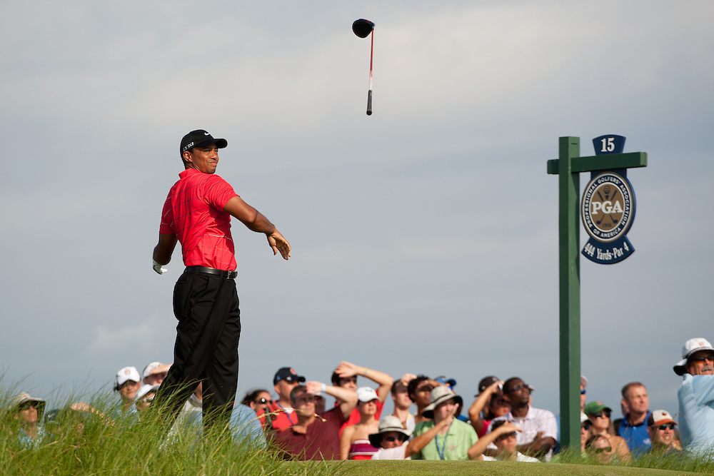 Tiger Woods isn't happy with his tee shot at the 15th hole during the 2012 PGA Championship at The Ocean Course on Kiawah Island, South Carolina.