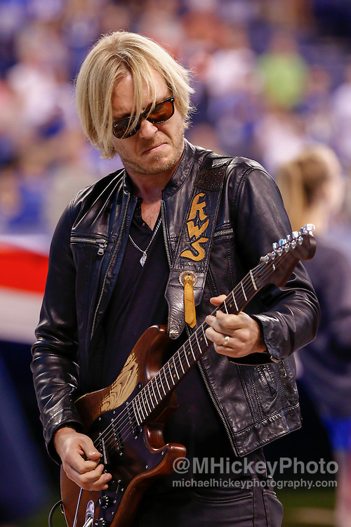 INDIANAPOLIS, IN - SEPTEMBER 3: Musician Kenny Wayne Shepherd performs the National Anthem before the Indianapolis Colts versus the Cincinnati Bengals game at Lucas Oil Stadium on September 3, 2015 in Indianapolis, Indiana. (Photo by Michael Hickey/Getty Images) *** Local Caption *** Kenny Wayne Shepherd