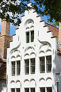 Belgian architecture crow-stepped gable (crow steps) at Beguinage convent - Begijnhof monastery / nunnery, Bruges, Belgium