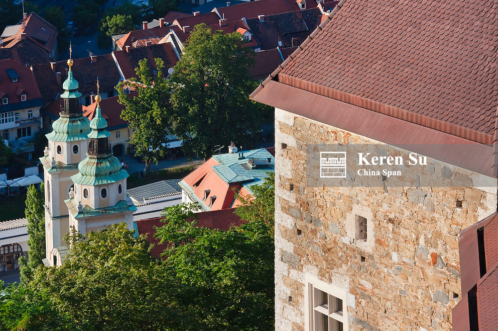 Red roof house and St Nicholas Cathedral, Ljubljana, Slovenia