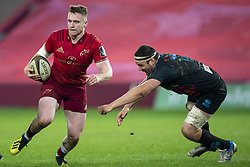 March 23, 2019 - Limerick, Ireland - Rory Scannell of Munster and David Sisi of Zebre during the Guinness PRO14 match between Munster Rugby and Zebre at Thomond Park Stadium in Limerick, Ireland on March 23, 2019  (Credit Image: © Andrew Surma/NurPhoto via ZUMA Press)