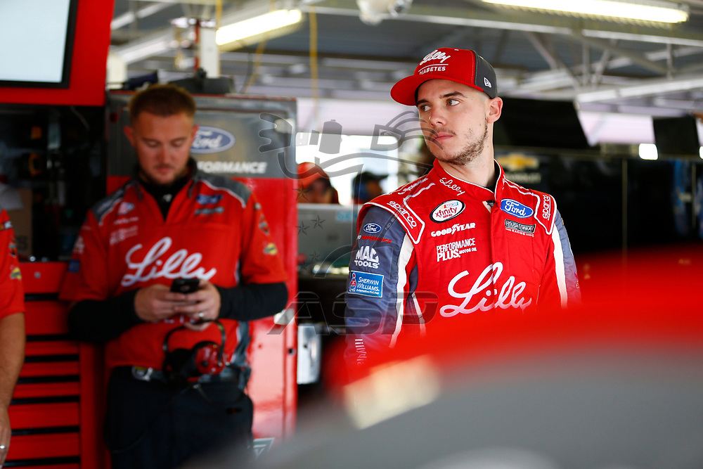 October 20, 2017 - Kansas City, Kansas, USA: Ryan Reed (16) hangs out in the garage during practice for the Kansas Lottery 300 at Kansas Speedway in Kansas City, Kansas.