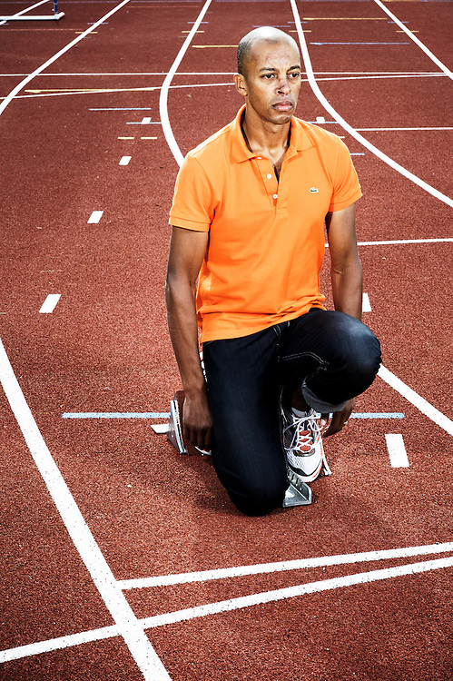 PARIS, FRANCE. AUGUST 2011, 24. French athlete Stephane Diagana at the National Institute of Sports (INSEP). Photo: Antoine Doyen