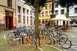 Bicycles in a square in Bruges, Belgium<br /> <br /> (c) Andrew Wilson | Edinburgh Elite media