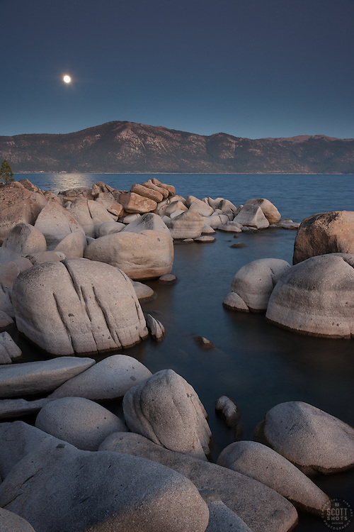 """""""Full Moon Over Lake Tahoe 14"""" -These boulders, full moon, and alpenglow sunset were photographed at Crystal Point in Crystal Bay, Lake Tahoe."""