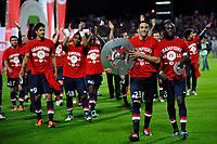 FOOTBALL - FRENCH CHAMPIONSHIP 2010/2011 - L1 - LILLE OSC v STADE RENNAIS - 29/05/2011 - PHOTO GUY JEFFROY / DPPI - CELEBRATION ADIL RAMI / MOUSSA SOW (LIL)