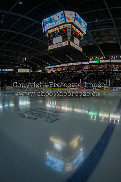 KELOWNA, CANADA - FEBRUARY 2: The lights go down for the start of the game at the Kelowna Rockets against the Kamloops Blazers on February 2, 2019 at Prospera Place in Kelowna, British Columbia, Canada.  (Photo by Marissa Baecker/Shoot the Breeze)