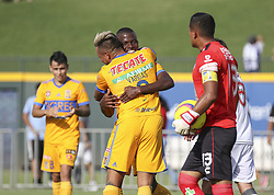 July 8, 2018 - Round Rock, USA - Tigres forward Eduardo Vargas (9) and midfielder Enner Valencia (13) celebrate after scoring a second-half goal during a Liga MX friendly match between Tigres and Pachuca at Dell Diamond in Round Rock, Texas, on July 8, 2018. (Credit Image: © Scott W. Coleman via ZUMA Wire)