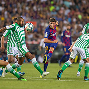 BARCELONA, SPAIN - August 25:  Sergi Roberto #20 of Barcelona shoots past Sidnei #12 of Real Betis during the Barcelona V  Real Betis, La Liga regular season match at  Estadio Camp Nou on August 25th 2019 in Barcelona, Spain. (Photo by Tim Clayton/Corbis via Getty Images)