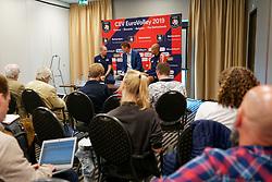 12-09-2019 NED: CEV Press Meeting EC Volleyball 2019, Rotterdam<br /> Coach Roberto Piazza of Netherlands, Nimir Abdelaziz #14 of Netherlands