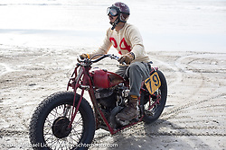 "Go Takamine on his custom Indian Chief Born Free bike at Go Takamine on his Indian Chief  ""Chout"" racer at the Race of Gentlemen. Wildwood, NJ, USA. October 10, 2015.  Photography ©2015 Michael Lichter."