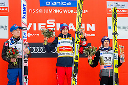 Johann Andre Forfang of Norway, Kamil Stoch of Poland and Stefan Kraft of Austria during flower ceremony after the Ski Flying Hill Individual Competition at Day 2 of FIS Ski Jumping World Cup Final 2018, on March 23, 2018 in Planica, Ratece, Slovenia. Photo by Ziga Zupan / Sportida