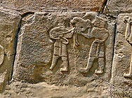 Pictures & Images Hittite relief sculpted orthostat panels of the Sphinx Gate. Panel depicts musicians. Alaca Hoyuk (Alacahoyuk) Hittite archaeological site  Alaca, Çorum Province, Turkey, Also known as Alacahüyük, Aladja-Hoyuk, Euyuk, or Evuk .<br /> <br /> If you prefer to buy from our ALAMY PHOTO LIBRARY  Collection visit : https://www.alamy.com/portfolio/paul-williams-funkystock/alaca-hoyuk-hittite-site.html<br /> <br /> Visit our TURKEY PHOTO COLLECTIONS for more photos to download or buy as wall art prints https://funkystock.photoshelter.com/gallery-collection/3f-Pictures-of-Turkey-Turkey-Photos-Images-Fotos/C0000U.hJWkZxAbg