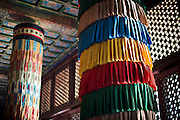 Some colourful Tibetan decoration are seen at the Yonghe Temple (Chinese 雍和宮, pinyin Yōng hé gōng), also known as the Lama Temple in Beijing, China, August 15, 2014.<br /> <br /> Confucianism, Taoism and Buddhism are the three major religions in China. Temples and statues witness their ancient roots all over the Chinese country.<br /> <br /> © Giorgio Perottino