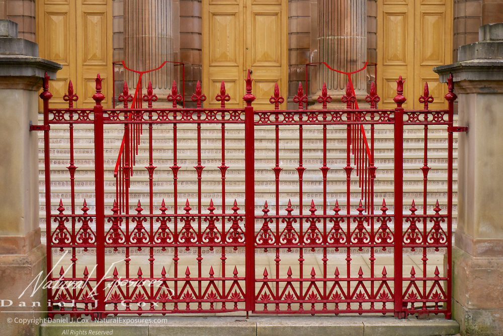 Red gate in Londonderry, Ireland.
