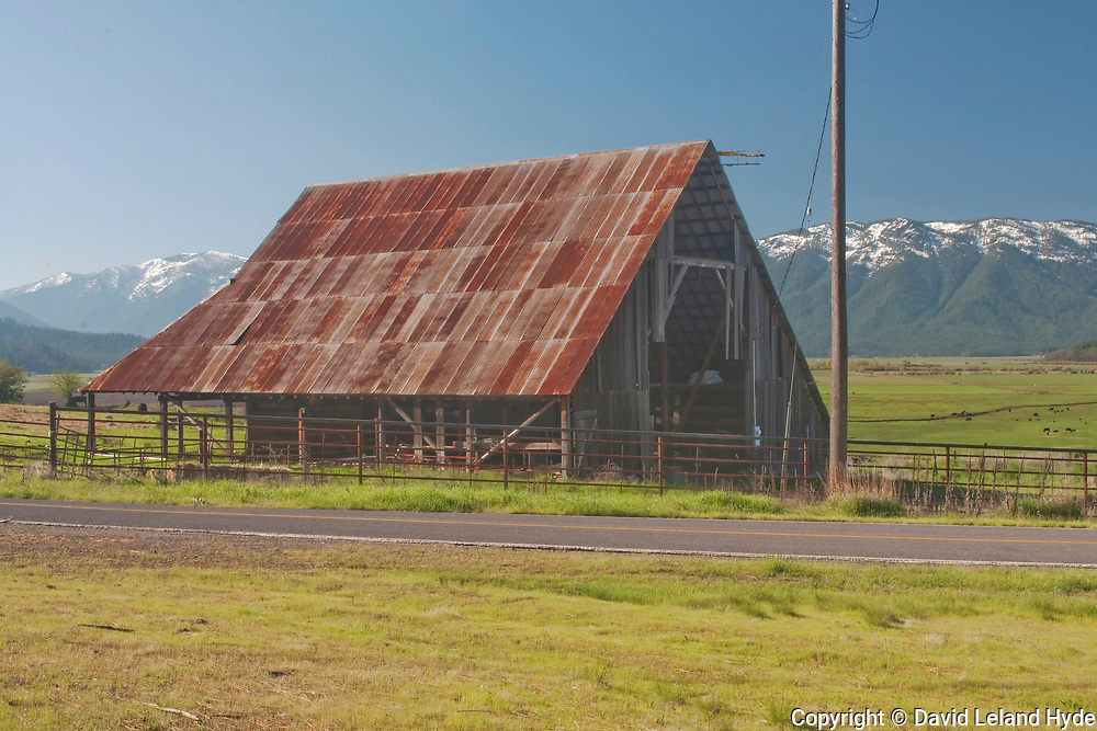 Barn next to North Valley Road, Grizzly Peak, Arlington Ridge, Mt. Hough, Indian Valley, Black Cows, Green Pastures