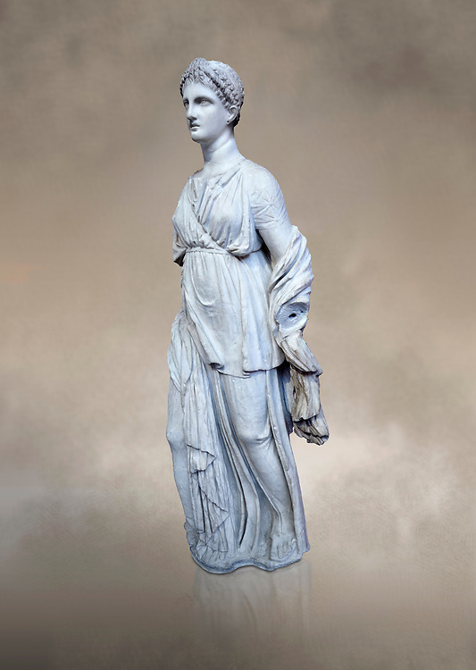 Statue of Artemis, found at the 'House of Diadoumenos' on Delos. Pariam marble, Circa 100 BC. Athens Archaeological Museum, Cat No 1829.<br /> <br /> Artemis wears a chiton, a girt and himation. The diagonal strap ocross her breast will have held the quiver full of arrows. The Goddess's beauty is stressed by her elaborate coiffure. .<br /> <br /> If you prefer to buy from our ALAMY STOCK LIBRARY page at https://www.alamy.com/portfolio/paul-williams-funkystock/greco-roman-sculptures.html . Type -    Athens    - into LOWER SEARCH WITHIN GALLERY box - Refine search by adding a subject, place, background colour, etc.<br /> <br /> Visit our ROMAN WORLD PHOTO COLLECTIONS for more photos to download or buy as wall art prints https://funkystock.photoshelter.com/gallery-collection/The-Romans-Art-Artefacts-Antiquities-Historic-Sites-Pictures-Images/C0000r2uLJJo9_s0
