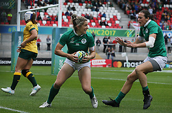 Ireland's Alison Miller (centre) celebrates scoring her side's second try during the 2017 Women's World Cup, 5th Place Semi Final match at the Kingspan Stadium, Belfast.