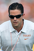 AUSTIN, TX - AUGUST 31: Defensive coordinator Manny Diaz of the Texas Longhorns looks on before kickoff against the New Mexico State Aggies on August 31, 2013 at Darrell K Royal-Texas Memorial Stadium in Austin, Texas.  (Photo by Cooper Neill/Getty Images) *** Local Caption *** Manny Diaz