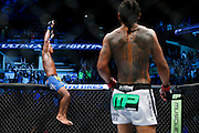 New lightweight Champion Anthony Pettis sits atop the cage while former champ Benson Henderson looks on at the BMO Harris Bradley Center in Milwaukee, WI on Saturday August 31, 2013.