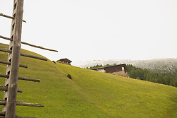 Low angle view of houses on a hilltop, Austrian alps, Carinthia, Austria