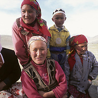 CHINA, XINJIANG. Nomadic Khyrgiz family in Pamir Mountains.