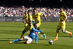 April 8, 2018 - Napoli, Napoli, Italy - Naples - Italy 08/04/2018.DRIES MERTENS of  S.S.C. NAPOLI   and DEPAOLI FABIO and TOMOVIC NENAD  of CHIEVO VERONA  fights for the ball during SERIE A TIM  match between S.S.C. NAPOLI and CHIEVO VERONA  at Stadio San Paolo of Naples..Final scores S.S.C. NAPOLI - CHIEVO VERONA 2-1  (Credit Image: © Emanuele Sessa/Pacific Press via ZUMA Wire)