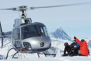 A group of skiers and boarders at Points North Heliskiing in Corova Alaska. MR