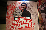 a Poster of Ronnie O'Sullivan (Eng) with last years Paul Hunter Masters Trophy is seen in the arena. Ronnie O'Sullivan v Liang Wenbo, 1st round match at the Dafabet Masters Snooker 2017, day 1 at Alexandra Palace in London on Sunday 15th January 2017.<br /> pic by John Patrick Fletcher, Andrew Orchard sports photography.