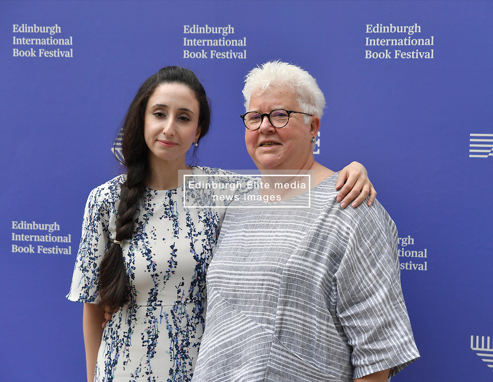 Pictured: Nayrouz Qarmout and Val McDermid.<br /> <br /> Nayrouz Qarmout is a Palestinian writer and activist. Born in Damascus in 1984, as a Palestinian refugee, she returned to the Gaza Strip, as part of the 1994 Israeli-Palestinian Peace Agreement, where she now lives. She graduated from al-Azhar University in Gaza with a degree in Economics. She currently works in the Ministry of Women's Affairs, raising awareness of gender issues and promoting the political and economic role of women in policy and law, as well as the defence of women from abuse, and highlighting the role of women's issues in the media. Her political, social and literary articles have appeared in numerous newspapers and magazines, and online. She has also written screenplays for several short films dealing with women's rights. She is a social activist and a member of several youth initiatives, campaigning for social change in Palestine.<br /> <br /> Born in Inverness, Ali Smith's first published book was Free Love and Other Stories (1995), which won the Saltire First Book of the Year Award. From this successful debut, her career continued to climb – her 2001 novel Hotel World, for instance, has received much critical acclaim, and was shortlisted for the Booker Prize for Fiction. Hotel World was adapted for the stage and performed at the Edinburgh Festival Fringe in 2007. Smith recently returned to short stories with The First Person and Other Stories (2008), an emotional and funny exploration of storytelling. 'She's a genius', said Alain de Botton of Smith; 'genuinely modern in the heroic, glorious sense'.<br /> <br /> © Dave Johnston / EEm