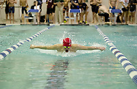 Laconia's Eric Phelps swims the butterfly leg of the 200 Yard IM placing sixth during the NHIAA Division II State Championships at Swasey Pool/UNH on Saturday.  (Karen Bobotas/for the Laconia Daily Sun)